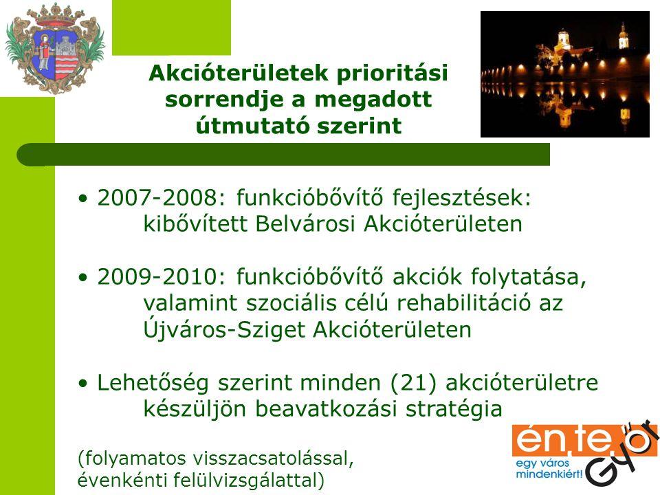 Akcióterületek prioritási sorrendje a megadott útmutató szerint 2007-2008: funkcióbővítő fejlesztések: kibővített Belvárosi Akcióterületen 2009-2010: funkcióbővítő akciók folytatása, valamint szociális célú rehabilitáció az Újváros-Sziget Akcióterületen Lehetőség szerint minden (21) akcióterületre készüljön beavatkozási stratégia (folyamatos visszacsatolással, évenkénti felülvizsgálattal)