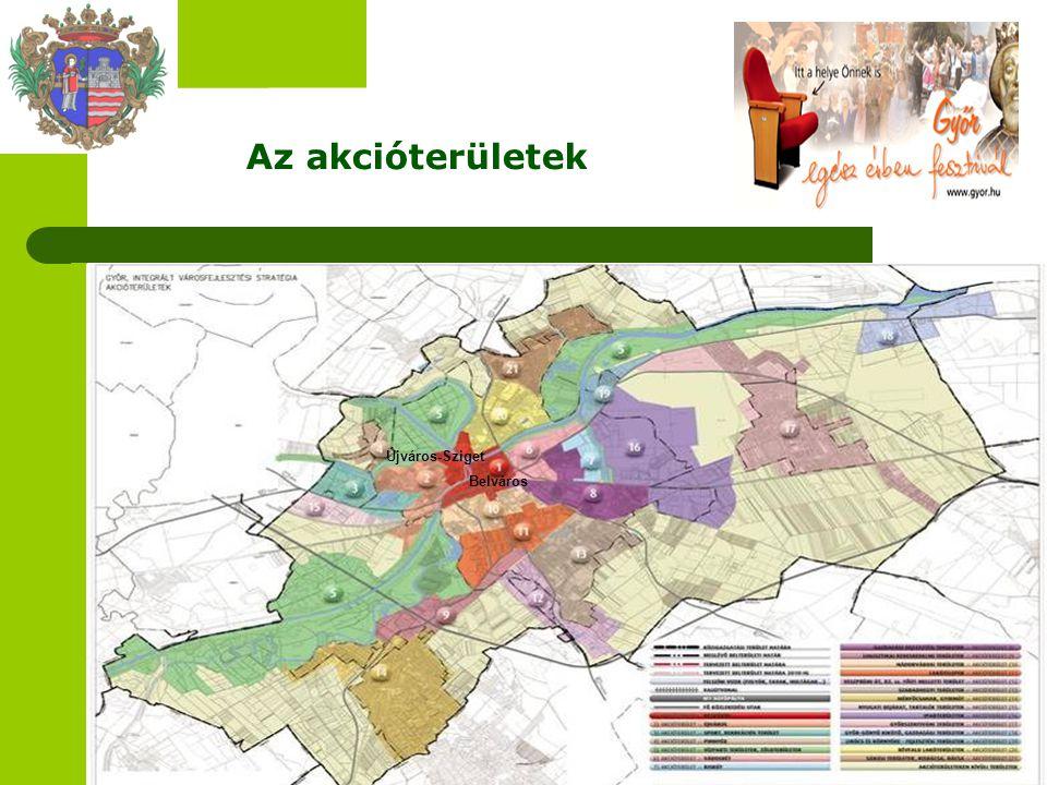 Az akcióterületek Belváros Újváros-Sziget