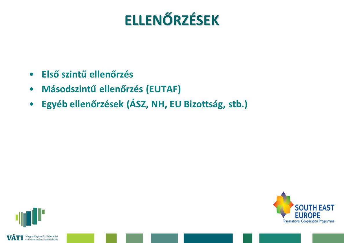 Első szintű ellenőrzés Másodszintű ellenőrzés (EUTAF) Egyéb ellenőrzések (ÁSZ, NH, EU Bizottság, stb.) ELLENŐRZÉSEK