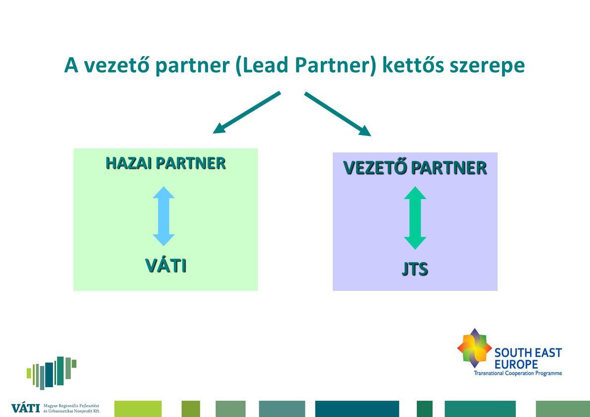 A vezető partner (Lead Partner) kettős szerepe HAZAI PARTNER VÁTI VEZETŐ PARTNER JTS