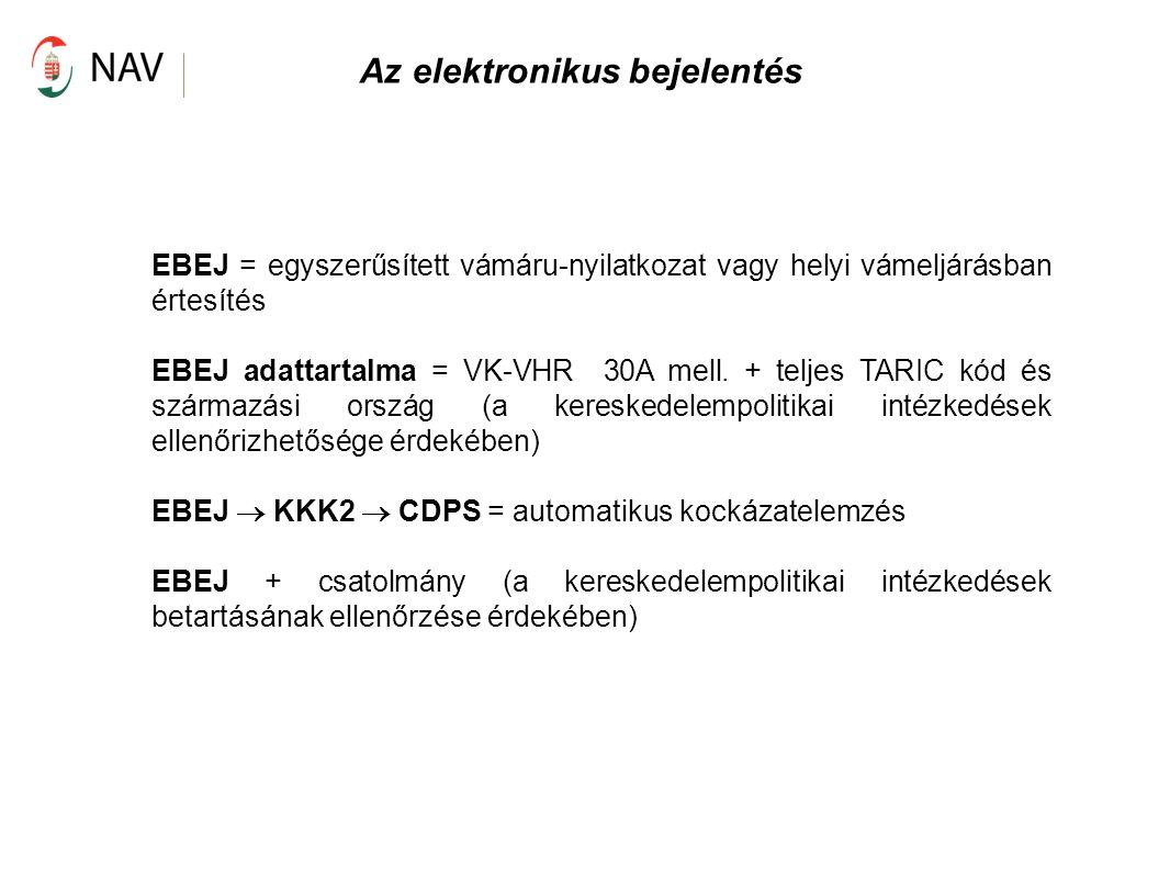 Az elektronikus bejelentés EBEJ = egyszerűsített vámáru-nyilatkozat vagy helyi vámeljárásban értesítés EBEJ adattartalma = VK-VHR 30A mell. + teljes T