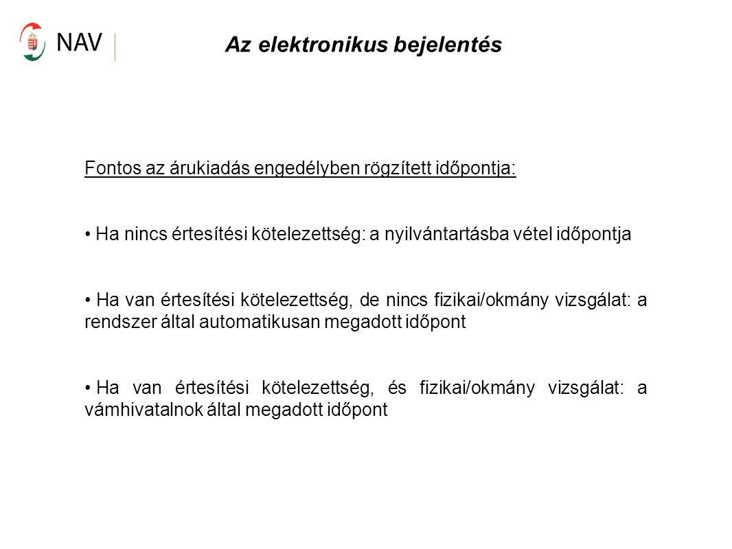 Az elektronikus bejelentés Fontos az árukiadás engedélyben rögzített időpontja: Ha nincs értesítési kötelezettség: a nyilvántartásba vétel időpontja H