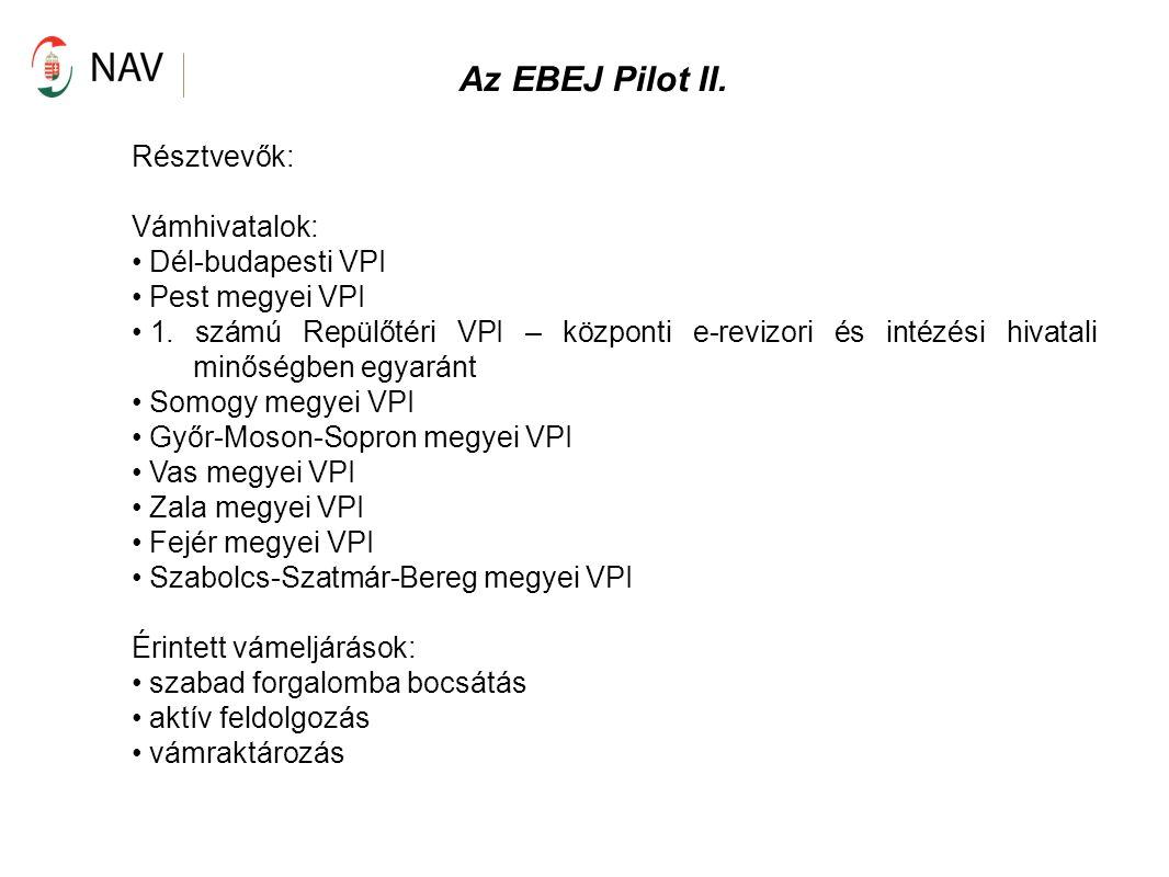 Az EBEJ Pilot II. Résztvevők: Vámhivatalok: Dél-budapesti VPI Pest megyei VPI 1. számú Repülőtéri VPI – központi e-revizori és intézési hivatali minős