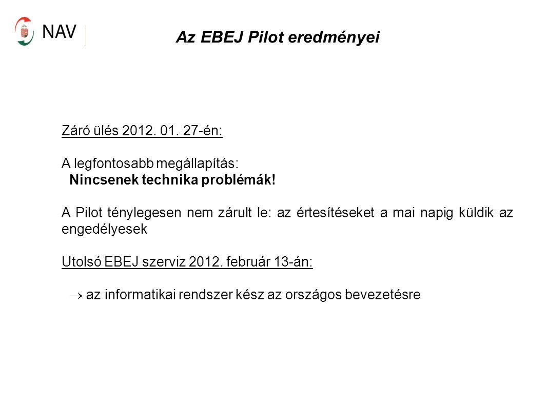 Az EBEJ Pilot eredményei Záró ülés 2012. 01. 27-én: A legfontosabb megállapítás: Nincsenek technika problémák! A Pilot ténylegesen nem zárult le: az é