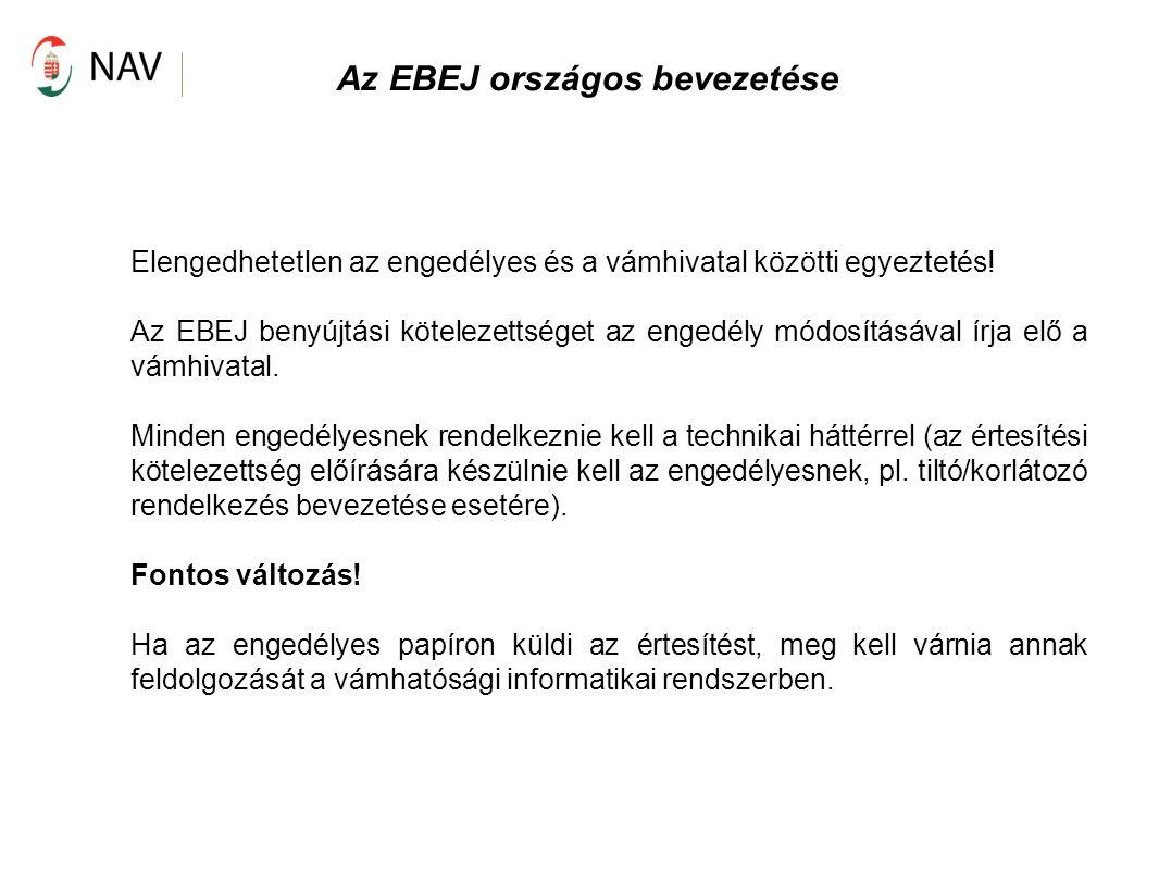 Az EBEJ országos bevezetése Elengedhetetlen az engedélyes és a vámhivatal közötti egyeztetés! Az EBEJ benyújtási kötelezettséget az engedély módosítás