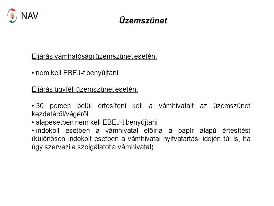 Üzemszünet Eljárás vámhatósági üzemszünet esetén: nem kell EBEJ-t benyújtani Eljárás ügyféli üzemszünet esetén: 30 percen belül értesíteni kell a vámh
