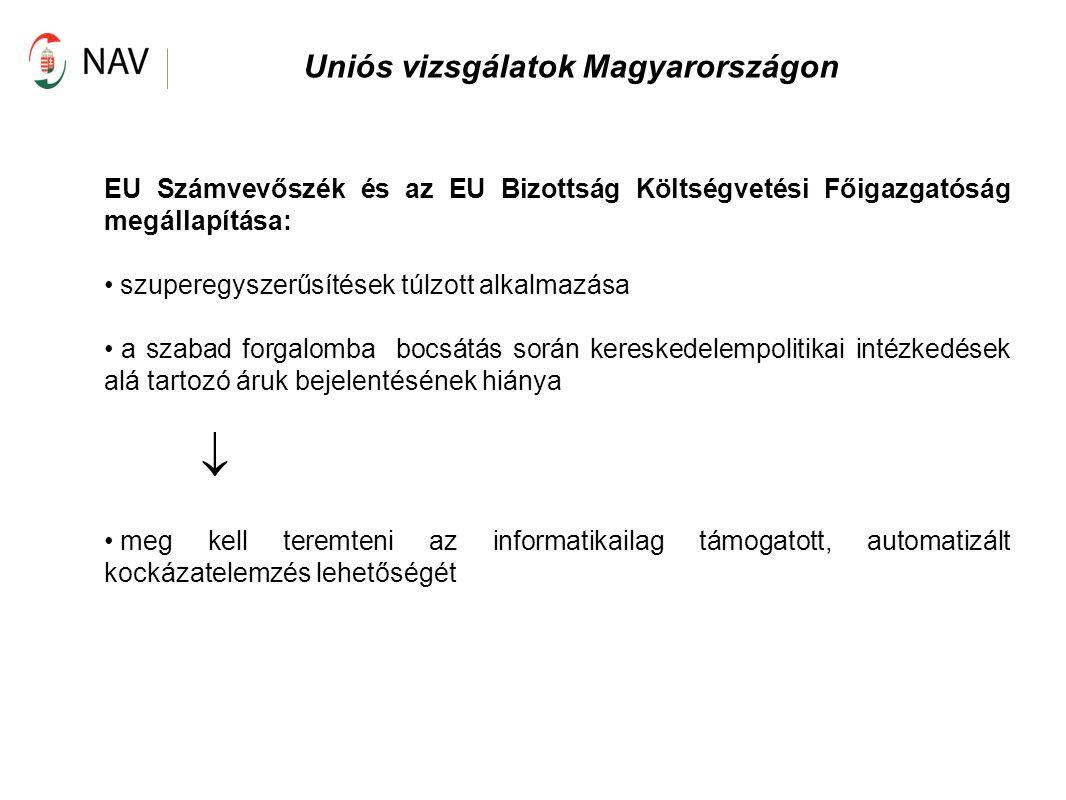 Uniós vizsgálatok Magyarországon EU Számvevőszék és az EU Bizottság Költségvetési Főigazgatóság megállapítása: szuperegyszerűsítések túlzott alkalmazá
