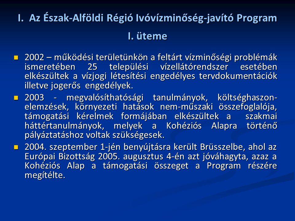 I. Az Észak-Alföldi Régió Ivóvízminőség-javító Program I. üteme 2002 – működési területünkön a feltárt vízminőségi problémák ismeretében 25 települési