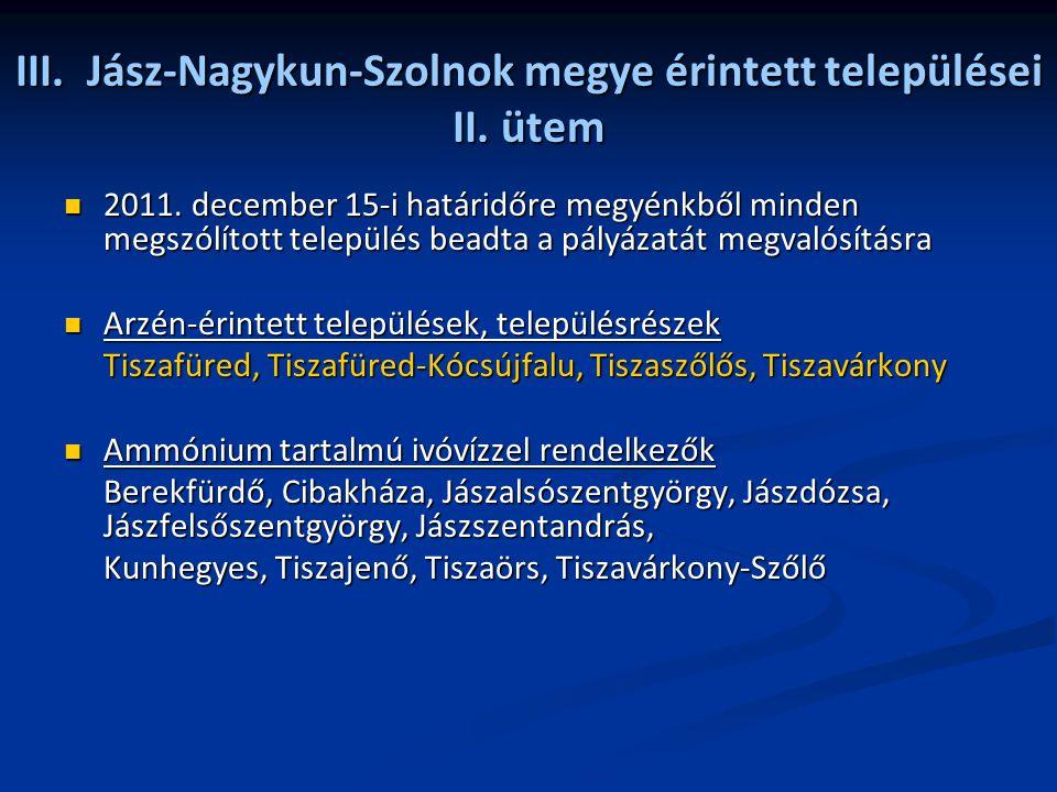 III. Jász-Nagykun-Szolnok megye érintett települései II. ütem 2011. december 15-i határidőre megyénkből minden megszólított település beadta a pályáza