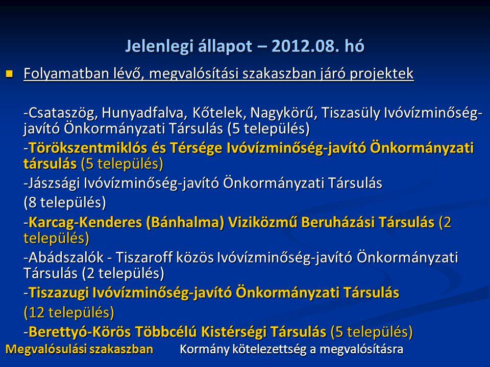 Jelenlegi állapot – 2012.08. hó Folyamatban lévő, megvalósítási szakaszban járó projektek Folyamatban lévő, megvalósítási szakaszban járó projektek -C
