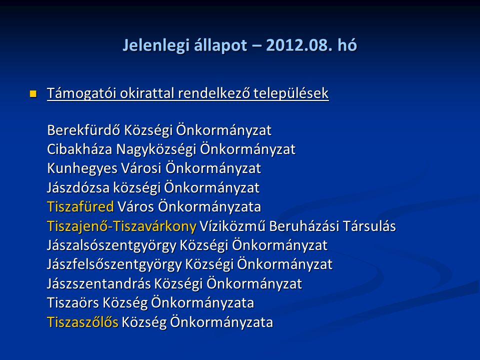 Jelenlegi állapot – 2012.08. hó Támogatói okirattal rendelkező települések Támogatói okirattal rendelkező települések Berekfürdő Községi Önkormányzat