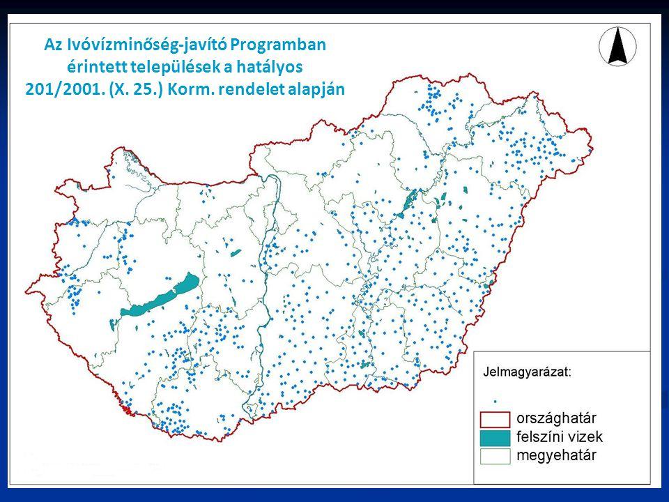 Az Ivóvízminőség-javító Programban érintett települések a hatályos 201/2001. (X. 25.) Korm. rendelet alapján