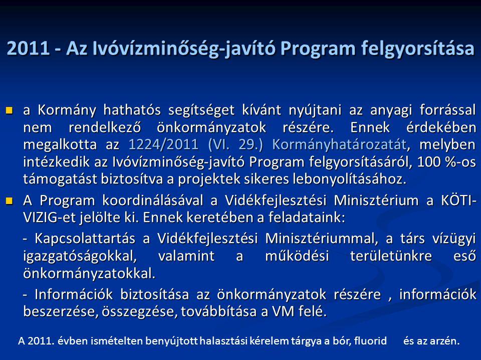 2011 - Az Ivóvízminőség-javító Program felgyorsítása a Kormány hathatós segítséget kívánt nyújtani az anyagi forrással nem rendelkező önkormányzatok r