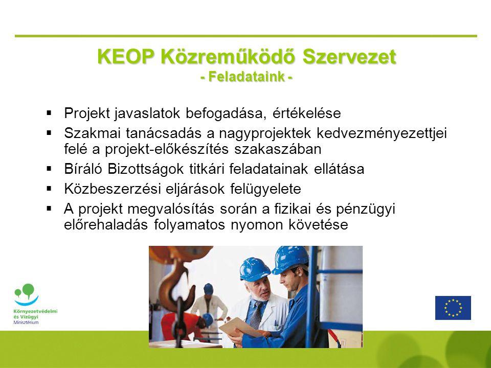  Projekt javaslatok befogadása, értékelése  Szakmai tanácsadás a nagyprojektek kedvezményezettjei felé a projekt-előkészítés szakaszában  Bíráló Bizottságok titkári feladatainak ellátása  Közbeszerzési eljárások felügyelete  A projekt megvalósítás során a fizikai és pénzügyi előrehaladás folyamatos nyomon követése KEOP Közreműködő Szervezet - Feladataink -