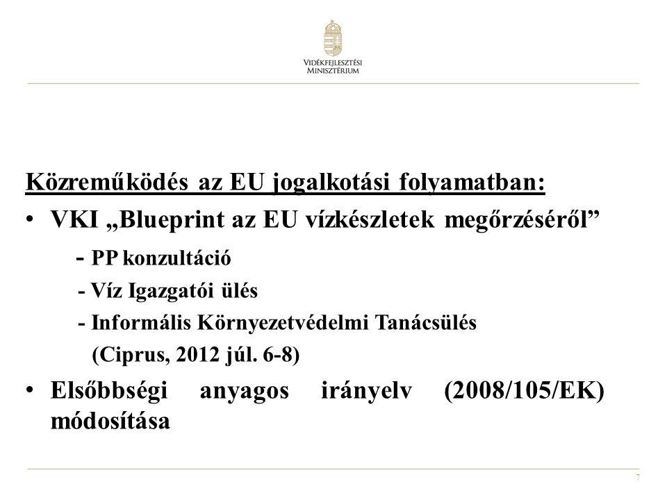 """7 Közreműködés az EU jogalkotási folyamatban: VKI """"Blueprint az EU vízkészletek megőrzéséről - PP konzultáció - Víz Igazgatói ülés - Informális Környezetvédelmi Tanácsülés (Ciprus, 2012 júl."""