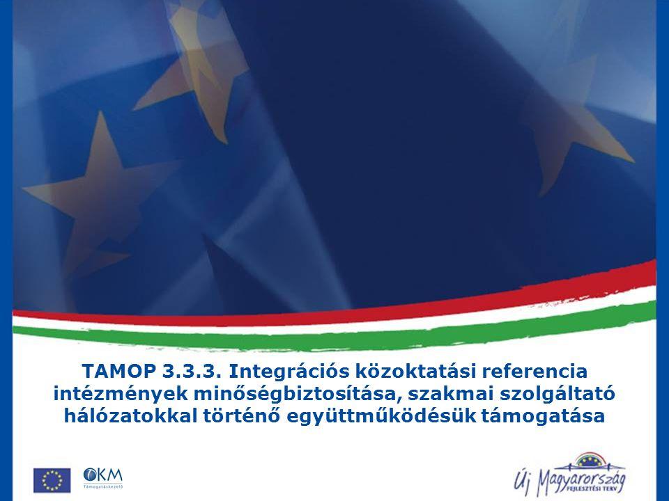 TAMOP 3.3.3. Integrációs közoktatási referencia intézmények minőségbiztosítása, szakmai szolgáltató hálózatokkal történő együttműködésük támogatása