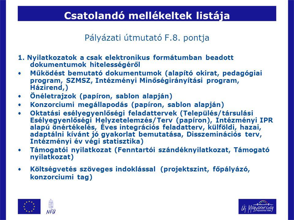 Csatolandó mellékeltek listája Pályázati útmutató F.8. pontja 1. Nyilatkozatok a csak elektronikus formátumban beadott dokumentumok hitelességéről Műk