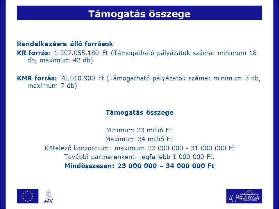 Támogatás összege Rendelkezésre álló források KR forrás: 1.207.055.180 Ft (Támogatható pályázatok száma: minimum 18 db, maximum 42 db) KMR forrás: 70.
