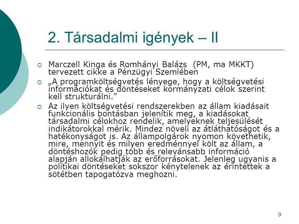 """9 2. Társadalmi igények – II  Marczell Kinga és Romhányi Balázs (PM, ma MKKT) tervezett cikke a Pénzügyi Szemlében  """"A programköltségvetés lényege,"""