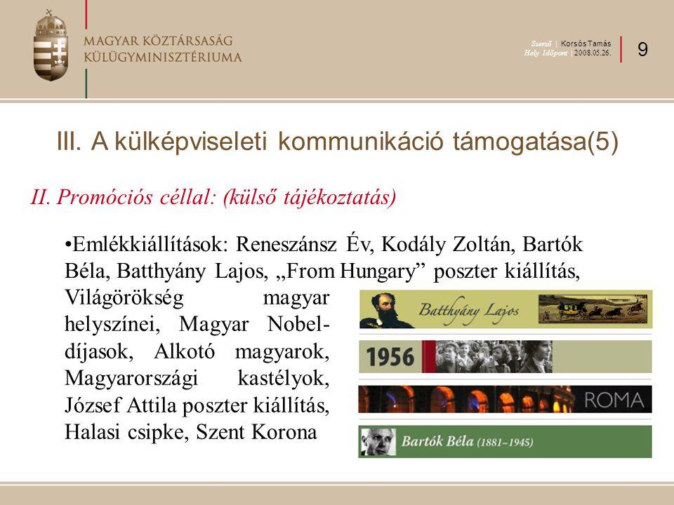 """II. Promóciós céllal: (külső tájékoztatás) Emlékkiállítások: Reneszánsz Év, Kodály Zoltán, Bartók Béla, Batthyány Lajos, """"From Hungary"""" poszter kiállí"""