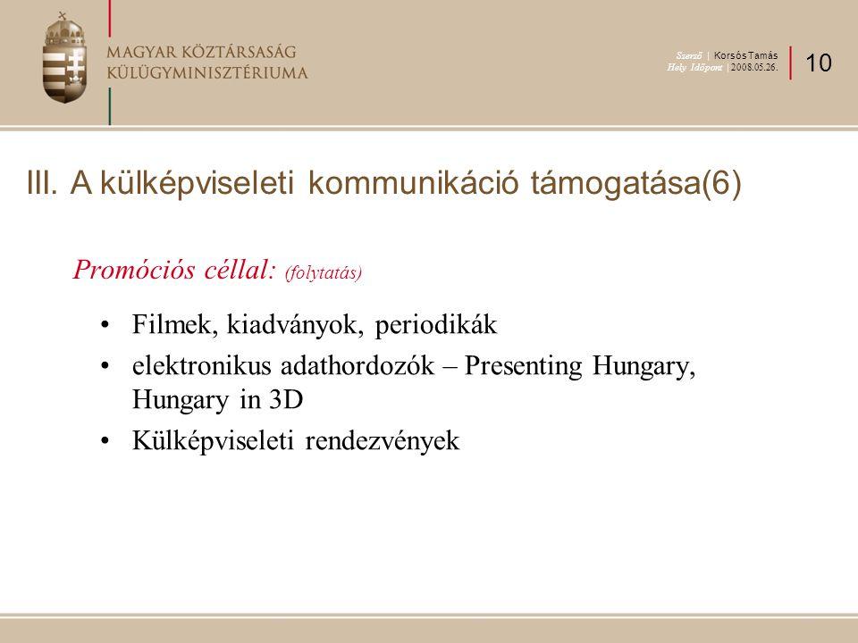 Promóciós céllal: (folytatás) Filmek, kiadványok, periodikák elektronikus adathordozók – Presenting Hungary, Hungary in 3D Külképviseleti rendezvények