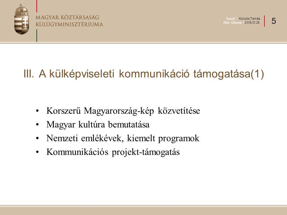 III. A külképviseleti kommunikáció támogatása(1) Korszerű Magyarország-kép közvetítése Magyar kultúra bemutatása Nemzeti emlékévek, kiemelt programok