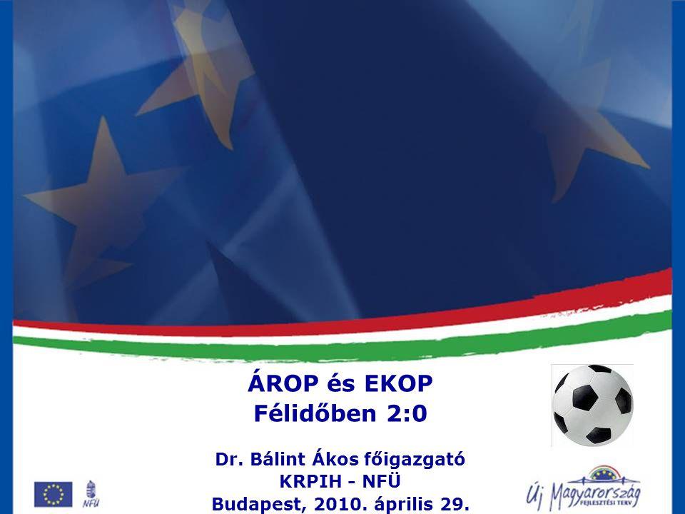 Közigazgatási Reform Programok IH dr. Bálint Ákos főigazgató ÁROP és EKOP Félidőben 2:0 Dr.