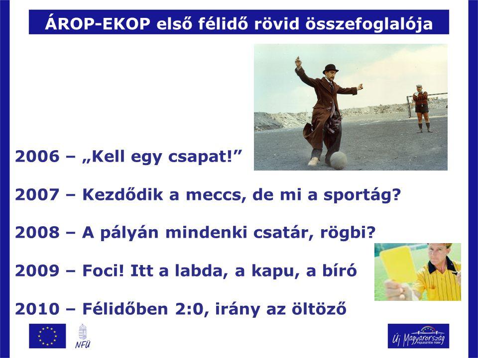 """ÁROP-EKOP első félidő rövid összefoglalója 2006 – """"Kell egy csapat! 2007 – Kezdődik a meccs, de mi a sportág."""