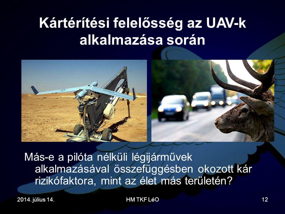 2014. július 14.HM TKF LéO12 Más-e a pilóta nélküli légijárművek alkalmazásával összefüggésben okozott kár rizikófaktora, mint az élet más területén?