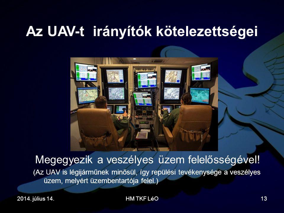 2014. július 14.HM TKF LéO13 Megegyezik a veszélyes üzem felelősségével! (Az UAV is légijárműnek minősül, így repülési tevékenysége a veszélyes üzem,