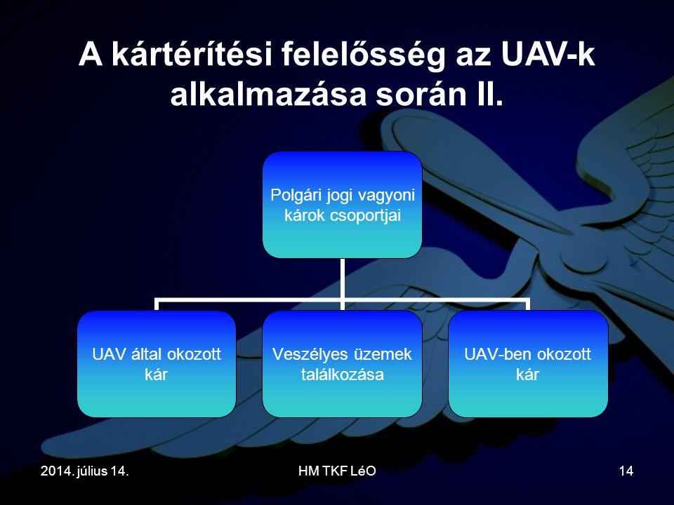 2014. július 14.HM TKF LéO14 A kártérítési felelősség az UAV-k alkalmazása során II. Polgári jogi vagyoni károk csoportjai UAV által okozott kár Veszé