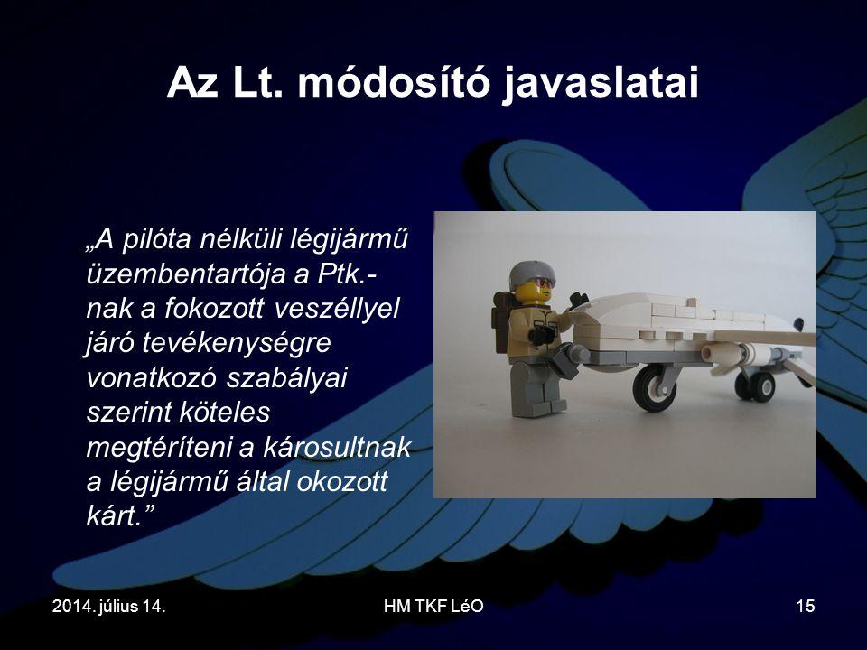 """2014. július 14.HM TKF LéO15 Az Lt. módosító javaslatai """"A pilóta nélküli légijármű üzembentartója a Ptk.- nak a fokozott veszéllyel járó tevékenységr"""