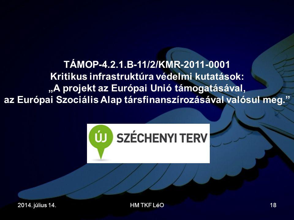"""2014. július 14.HM TKF LéO18 TÁMOP-4.2.1.B-11/2/KMR-2011-0001 Kritikus infrastruktúra védelmi kutatások: """"A projekt az Európai Unió támogatásával, az"""