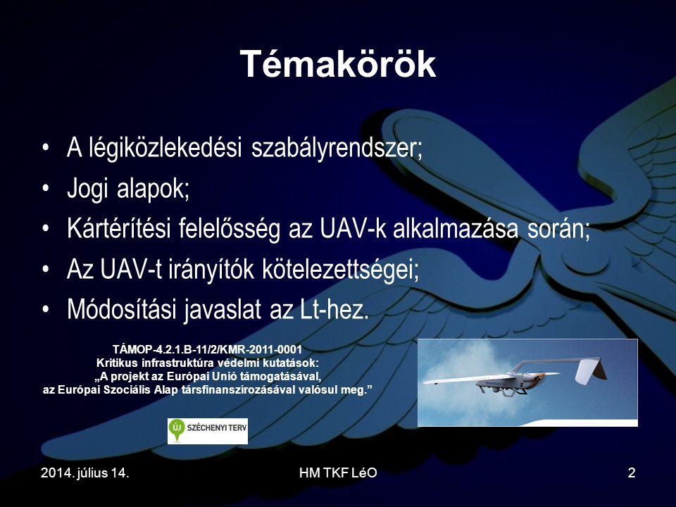 2014. július 14.HM TKF LéO2 Témakörök A légiközlekedési szabályrendszer; Jogi alapok; Kártérítési felelősség az UAV-k alkalmazása során; Az UAV-t irán