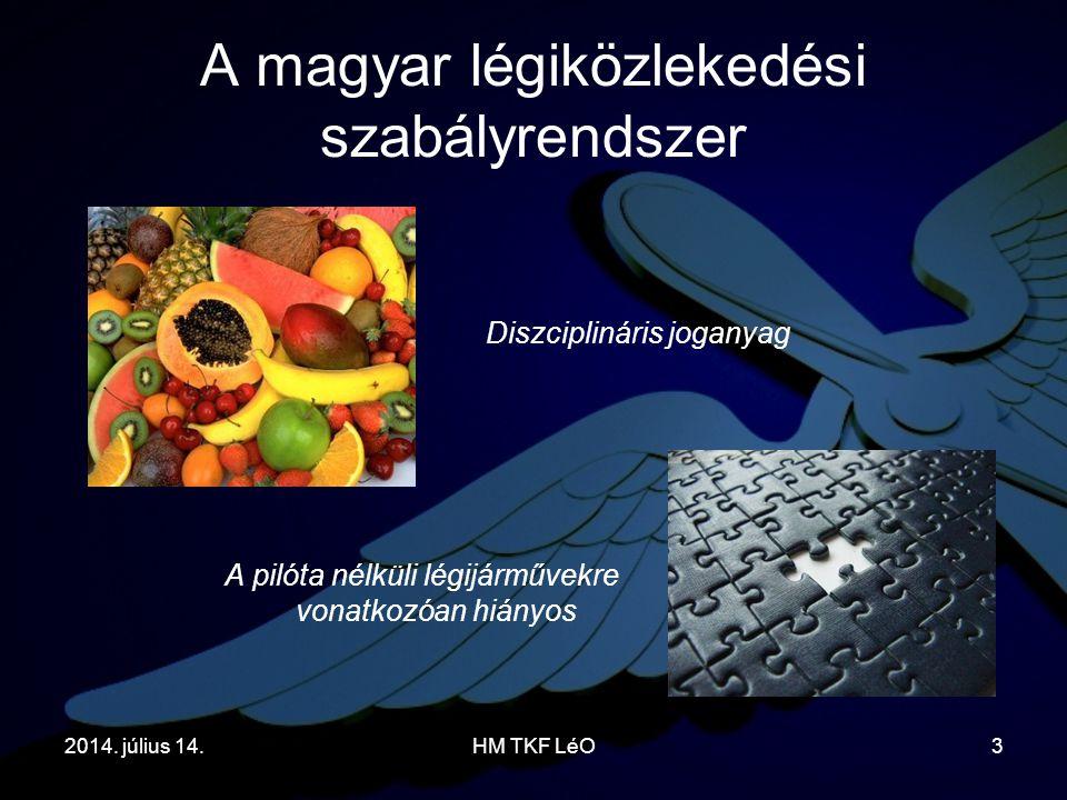 2014. július 14.HM TKF LéO3 A magyar légiközlekedési szabályrendszer A pilóta nélküli légijárművekre vonatkozóan hiányos Diszciplináris joganyag
