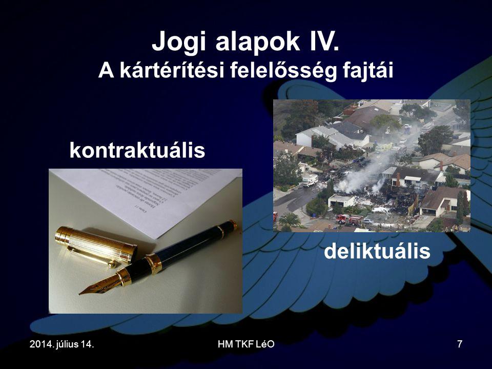 2014. július 14.HM TKF LéO7 kontraktuális Jogi alapok IV. A kártérítési felelősség fajtái deliktuális