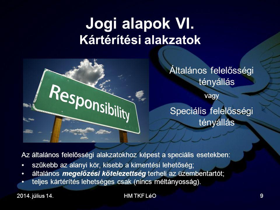 2014. július 14.HM TKF LéO9 Jogi alapok VI. Kártérítési alakzatok Általános felelősségi tényállás vagy Speciális felelősségi tényállás Az általános fe