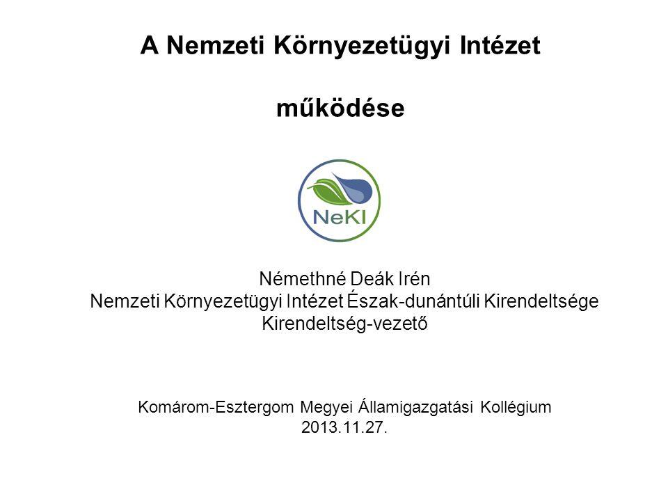 A Nemzeti Környezetügyi Intézet működése Némethné Deák Irén Nemzeti Környezetügyi Intézet Észak-dunántúli Kirendeltsége Kirendeltség-vezető Komárom-Es