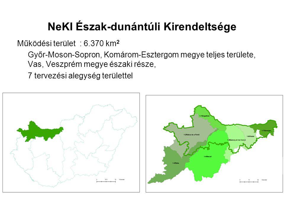 NeKI Észak-dunántúli Kirendeltsége Működési terület : 6.370 km 2 Győr-Moson-Sopron, Komárom-Esztergom megye teljes területe, Vas, Veszprém megye észak