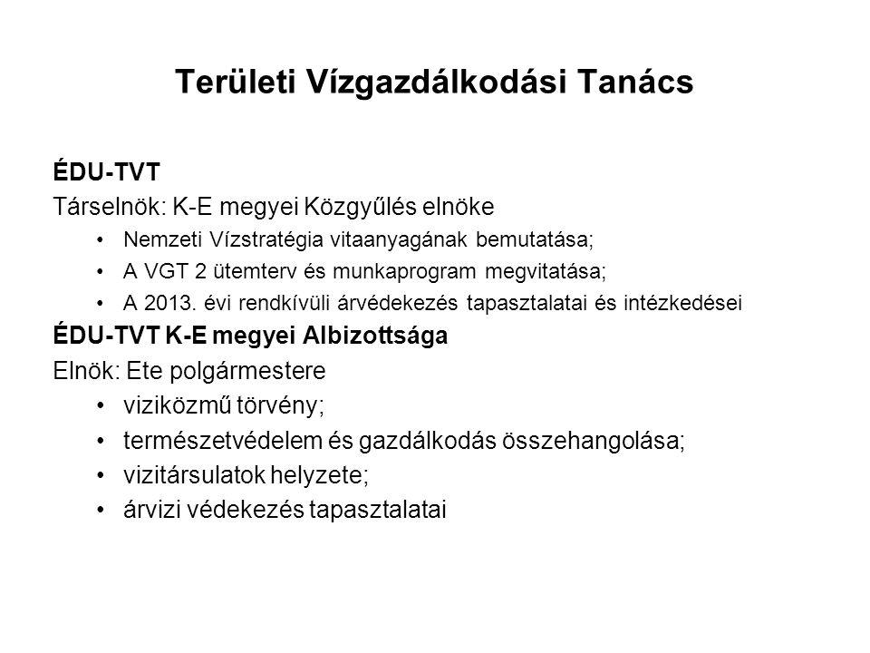 Területi Vízgazdálkodási Tanács ÉDU-TVT Társelnök: K-E megyei Közgyűlés elnöke Nemzeti Vízstratégia vitaanyagának bemutatása; A VGT 2 ütemterv és munk