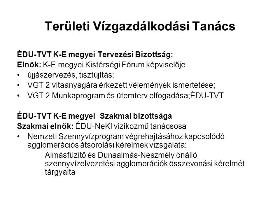 Területi Vízgazdálkodási Tanács ÉDU-TVT K-E megyei Tervezési Bizottság: Elnök: K-E megyei Kistérségi Fórum képviselője újjászervezés, tisztújítás; VGT