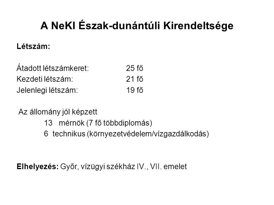 A NeKI Észak-dunántúli Kirendeltsége Létszám: Átadott létszámkeret: 25 fő Kezdeti létszám: 21 fő Jelenlegi létszám: 19 fő Az állomány jól képzett 13 m