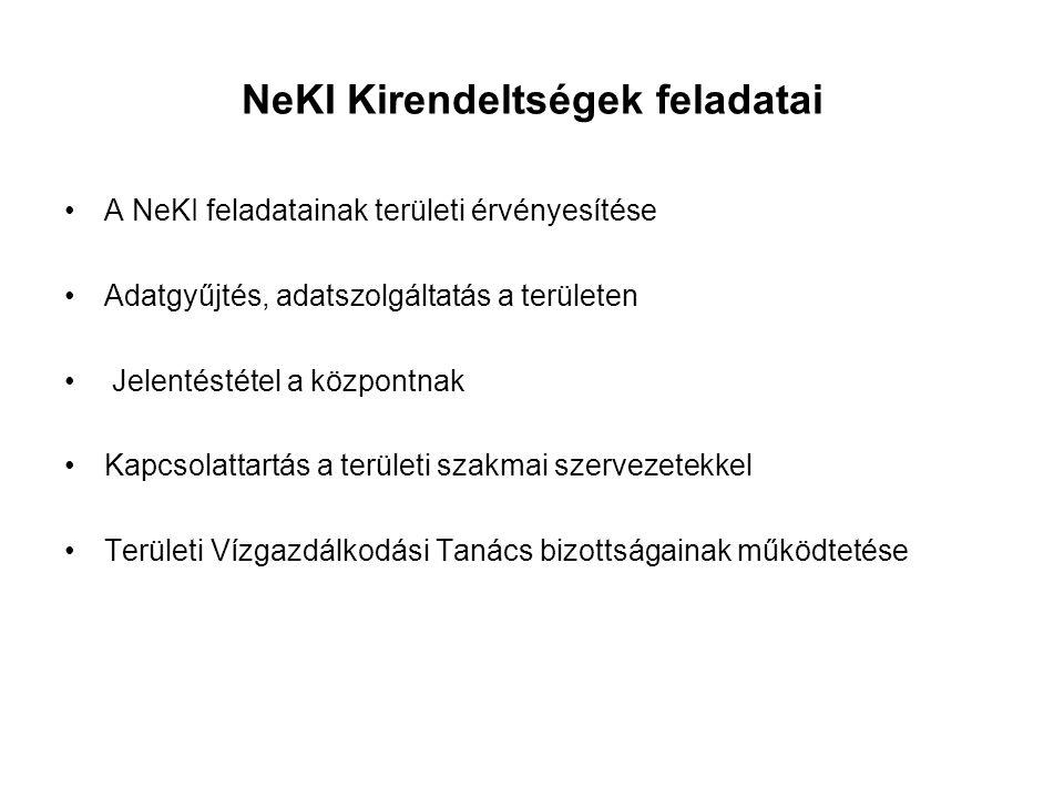 NeKI Kirendeltségek feladatai A NeKI feladatainak területi érvényesítése Adatgyűjtés, adatszolgáltatás a területen Jelentéstétel a központnak Kapcsola