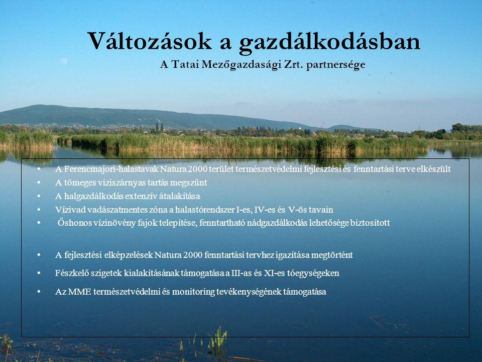 Változások a gazdálkodásban A Tatai Mezőgazdasági Zrt. partnersége A Ferencmajori-halastavak Natura 2000 terület természetvédelmi fejlesztési és fennt