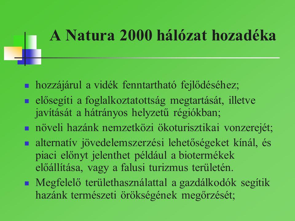A Natura 2000 hálózat hozadéka hozzájárul a vidék fenntartható fejlődéséhez; elősegíti a foglalkoztatottság megtartását, illetve javítását a hátrányos