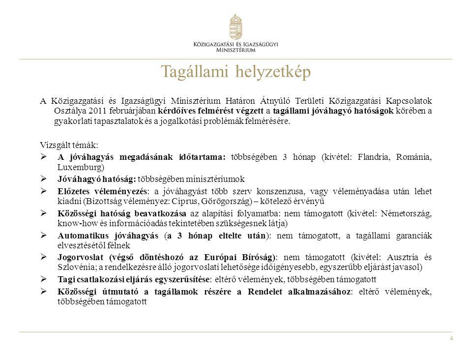 5 Tagállami javaslatok a jóváhagyó hatóságok közötti együttműködés javítására - EU-s tájékoztató iroda létrehozása, - naprakész adatbázis vezetése a nemzeti jóváhagyó hatóságokról a Régiók Bizottsága kezelésében, (a Közigazgatási és Igazságügyi Minisztérium adatbázisa a magyar ETT honlapon: www.egtc.gov.hu elérhető - angol nyelven is) - a szabályozás további egyszerűsítése, - a jó gyakorlatok megismerhetősége, - tájékoztató kézikönyv készítése, - a Nemzeti Jóváhagyó Hatóságok Hálózatának életre hívása és a Régiók Bizottsága által történő koordinálása.