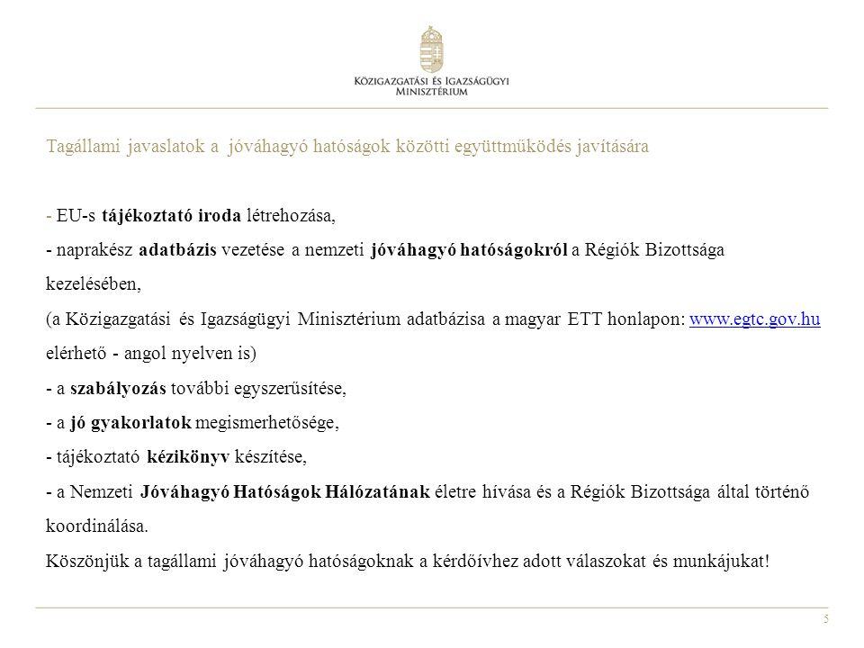 5 Tagállami javaslatok a jóváhagyó hatóságok közötti együttműködés javítására - EU-s tájékoztató iroda létrehozása, - naprakész adatbázis vezetése a n