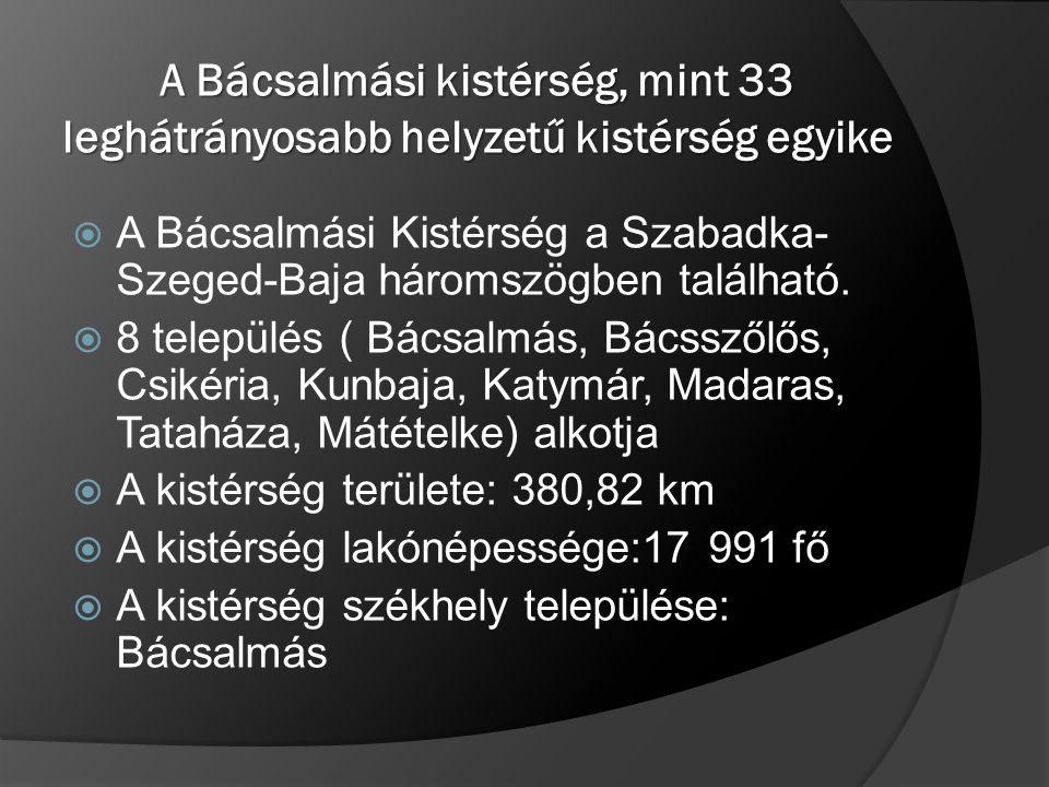 A Bácsalmási kistérség, mint 33 leghátrányosabb helyzetű kistérség egyike  A Bácsalmási Kistérség a Szabadka- Szeged-Baja háromszögben található.