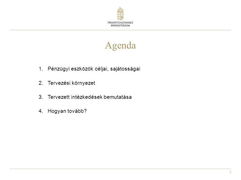 2 Agenda 1.Pénzügyi eszközök céljai, sajátosságai 2.Tervezési környezet 3.Tervezett intézkedések bemutatása 4.Hogyan tovább