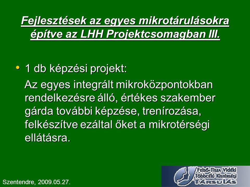 Fejlesztések az egyes mikrotárulásokra építve az LHH Projektcsomagban III. 1 db képzési projekt: 1 db képzési projekt: Az egyes integrált mikroközpont
